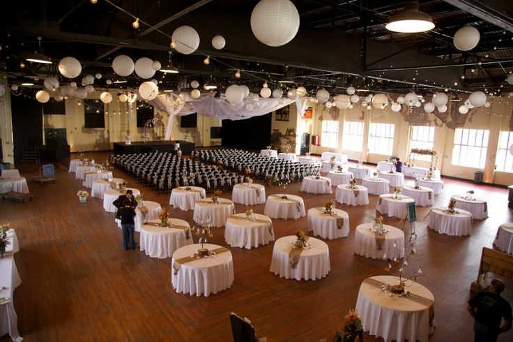 the ceremony and reception in one spot white round tables