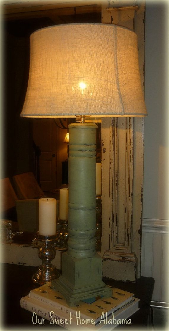 rustic kitchen island light fixtures hand grinder distressed grand porch column table lamp by ...