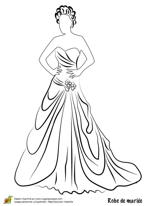 Dessin/coloriage robe de mariée chic avec ceinture fleurie