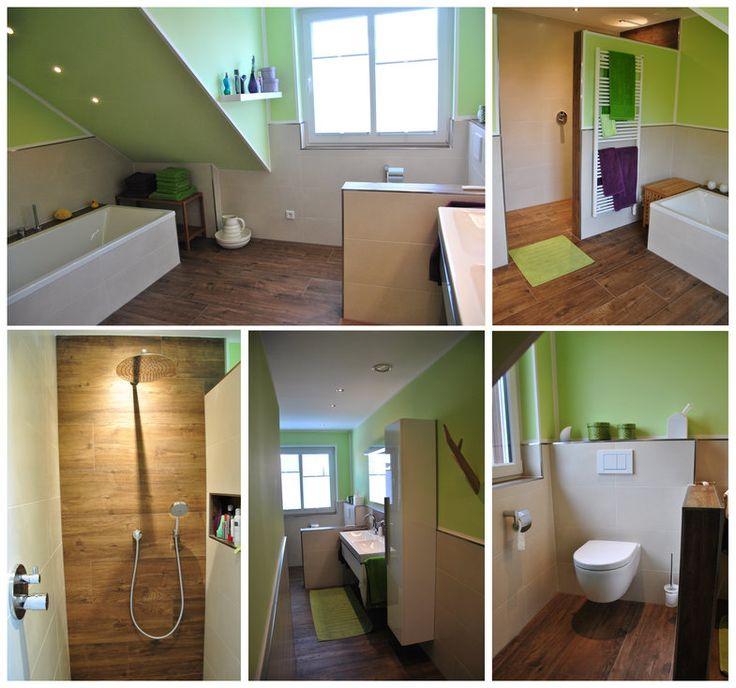 Fliesen in Holzoptik toll im Badezimmer an der Wand und dem Boden verarbeitet Fliesen