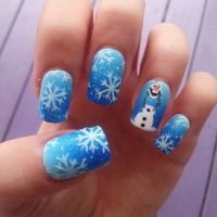Frozen olaf blue ombre snowflake handpainted by ...