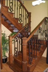 wood and rod iron staircase | ... Wrought iron fence, iron ...
