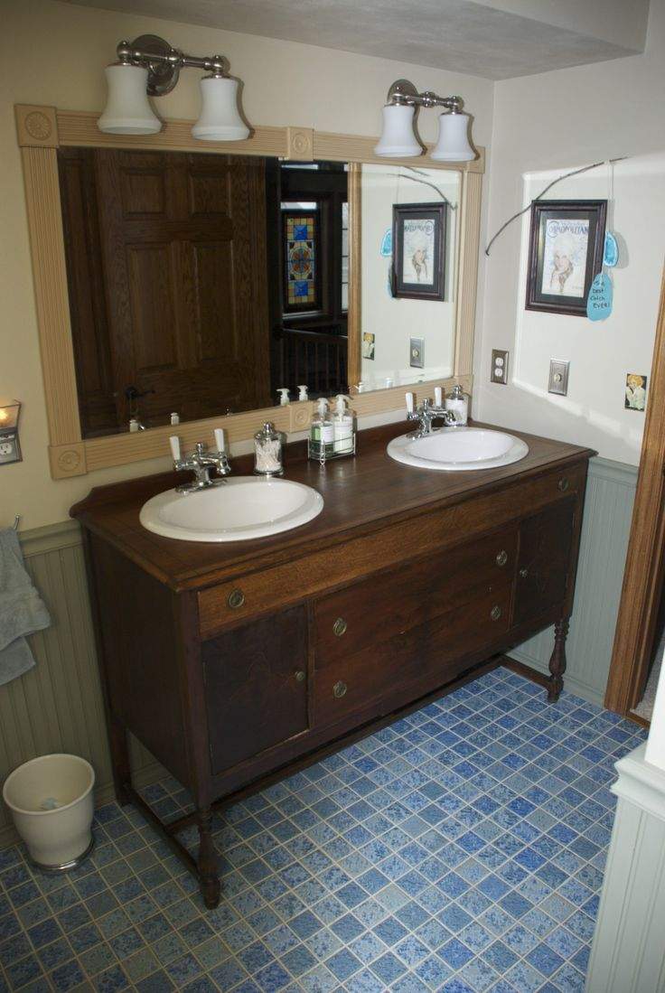 Bathroom vanity made from vintage buffet  sideboard All you need is a jigsaw  Woodcraft