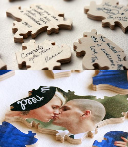 Wedding guest book ideas: Puzzle pieces – Pick an engagement photo and have it t