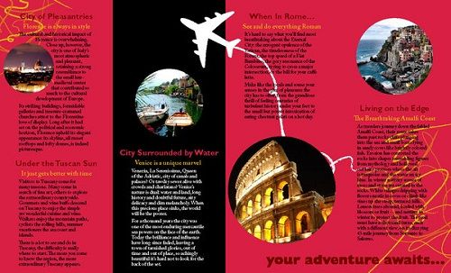 Travel Brochure Examples Italy Brochure Ideas Trifold