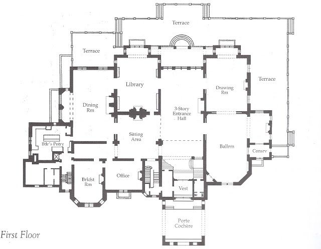 Ochre Court: 1st floor plan. Ogden Goelet, scion of a New