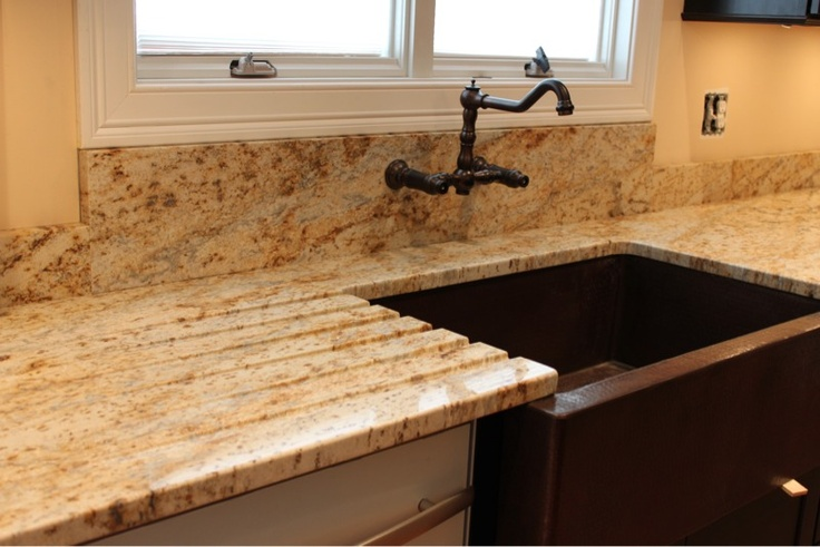 Drain board cut in granite with farmhouse sink  Dream Kitchen  Pinterest  On the side The o