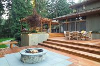decks plans with firepits | fire pit wood deck protection ...