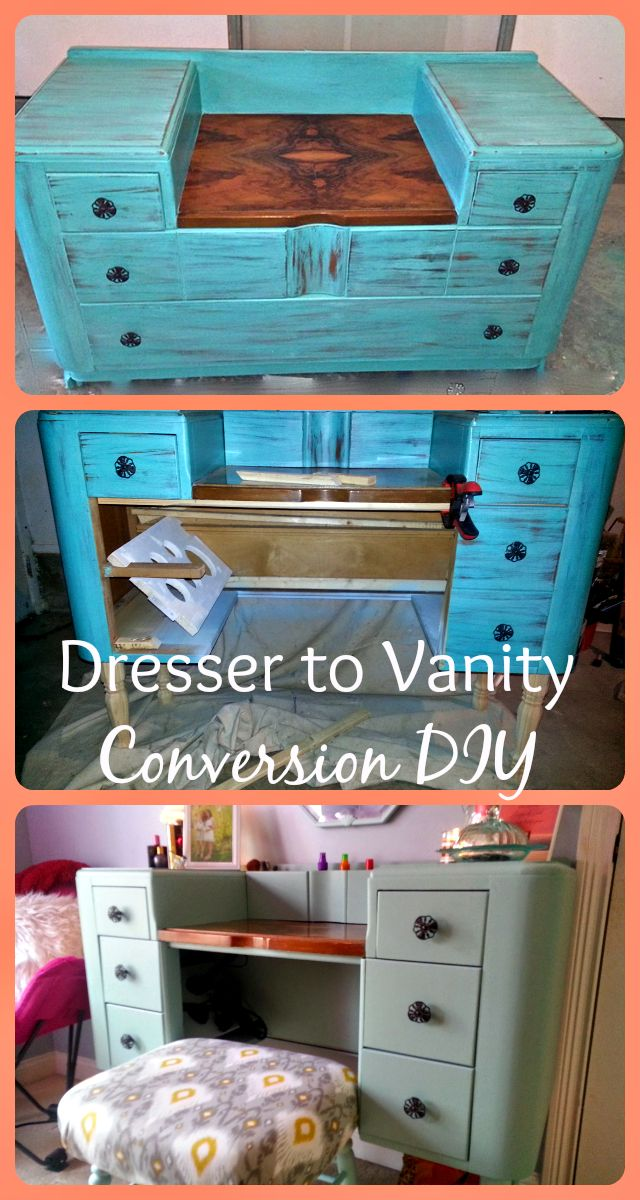 vanity with chair and mirror duck hunting diy dresser to conversion | hidden storage, vanities desk