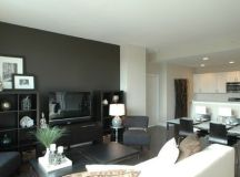 dark gray accent wall | Movin' On Up, Living Room ...