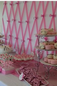 Close up on pink tulle backdrop for hello kitty baby ...