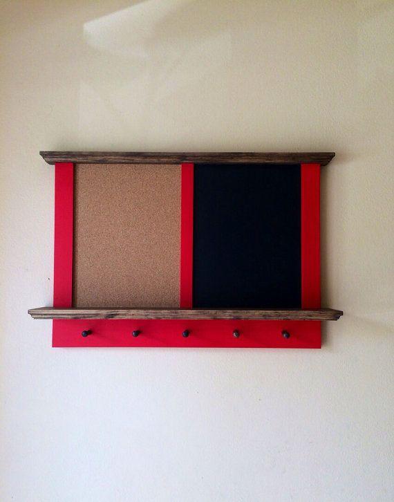 Framed Hanging Corkboard and Chalkboard with Key Holder
