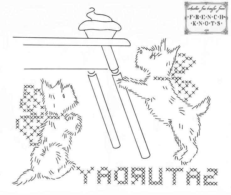 free vintage scottie dog embroidery transfer patterns
