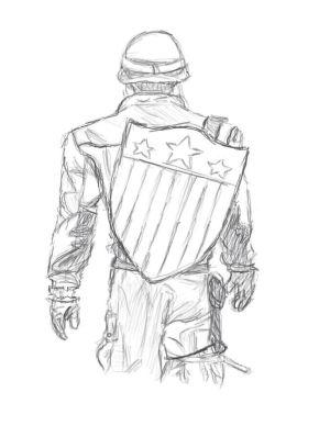 captain america drawing sketch easy drawings marvel draw avengers deviantart pencil sketches super cartoon hero shirt superheroes visit grab amazing