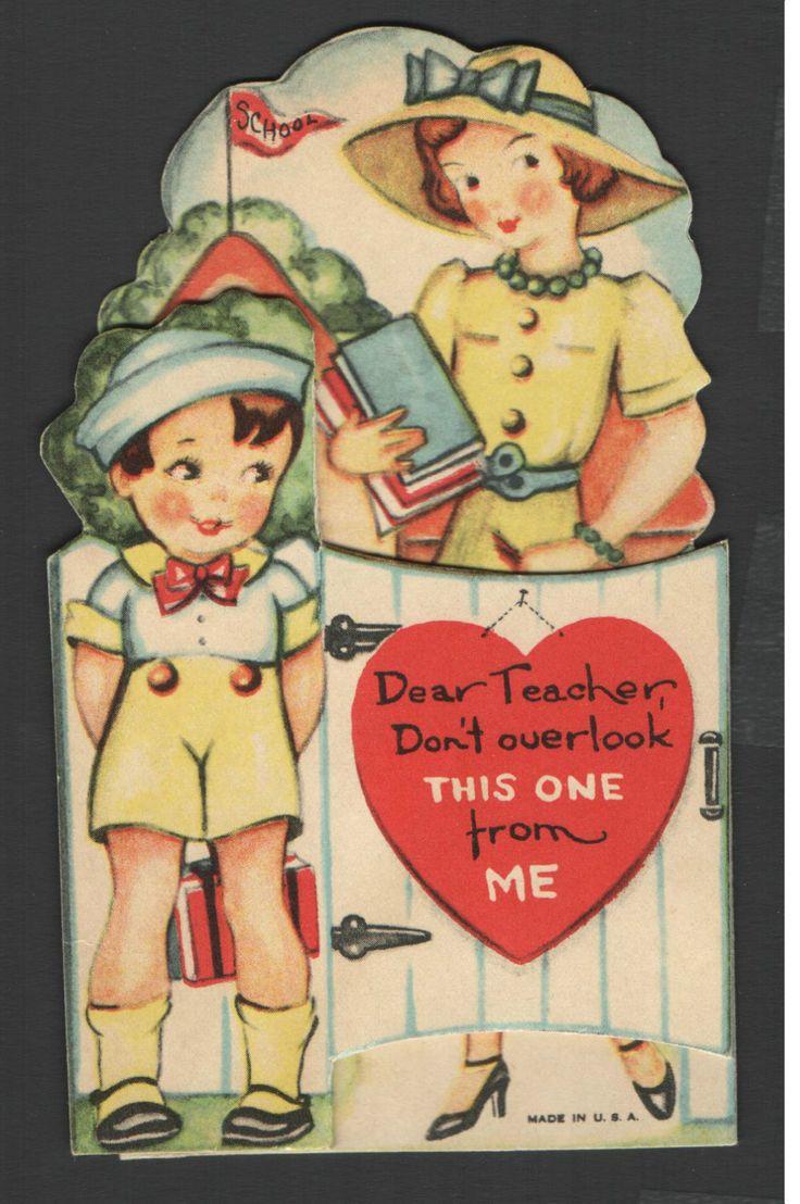 Vintage Valentines Day Card Teacher Child Amp Old School