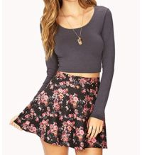 Crop top with high waisted skater skirt | cute outfits ...