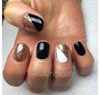 Gel nails black white gold design short | Nails/nail ...