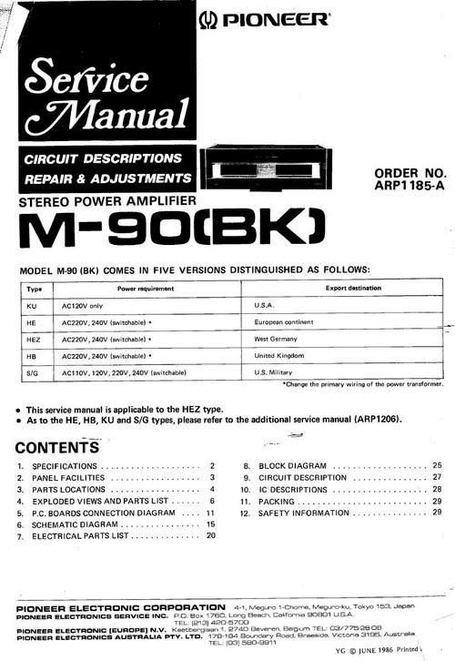 Pioneer M-90 Power Amplifier , Original Service Manual 100