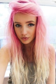 pink hair and blonde tips
