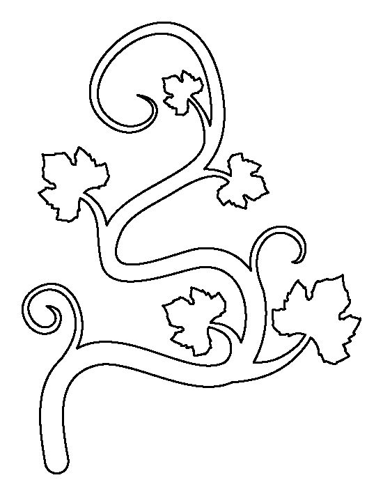 Pumpkin vine pattern. Use the printable outline for crafts