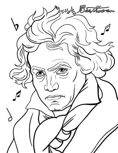 Printable Beethoven coloring page. Free PDF download at