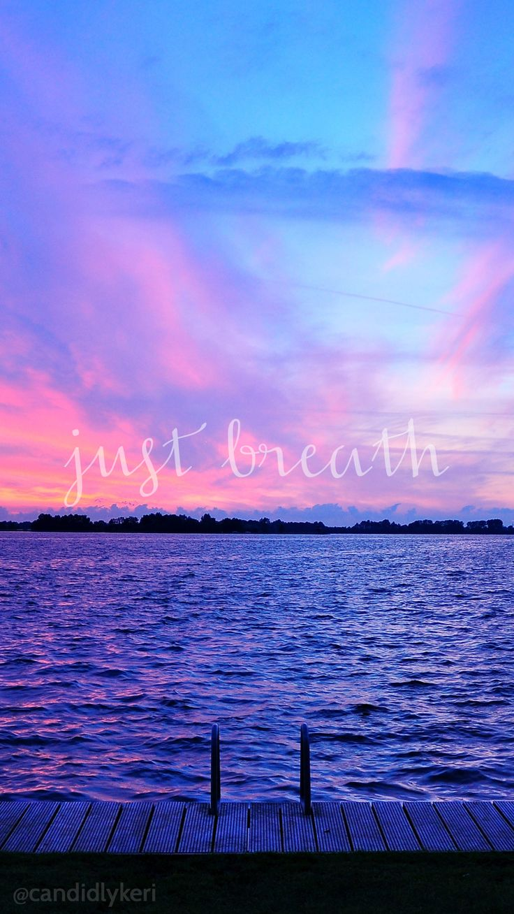 Smile Quotes Wallpaper Free Download Just Breathe Sunset Ocean View Pink And Purple Sky