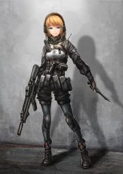 1girl ankle boots assault rifle