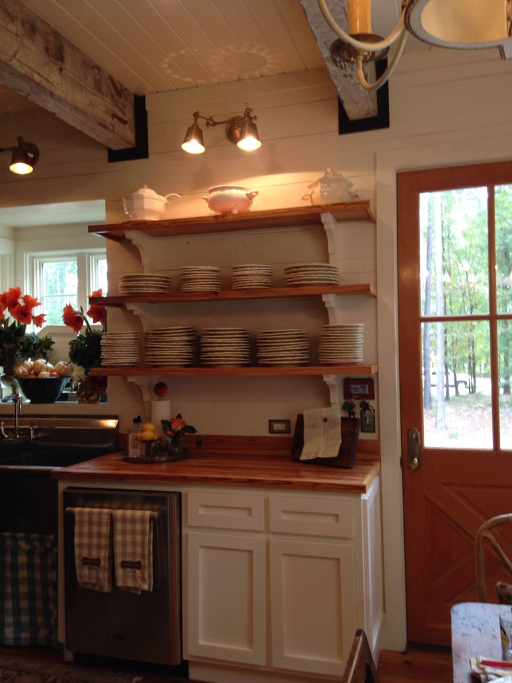 Cottage Kitchen With Painted Shiplap Open Shelves White