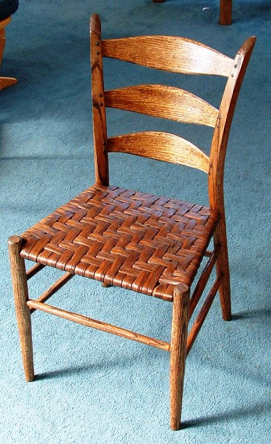 Appalachianstyle ladder back chair with woven seat