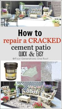 How to repair a cracked & old cement patio {before & after ...