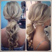 prom updo with headband braid