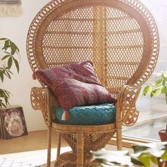 Childs Rattan Chair Steel Three Seater Peacock Wicker | Home Decor