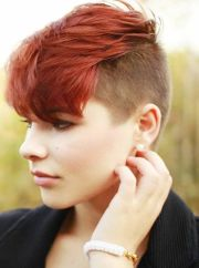 short hairstyle with red bangs