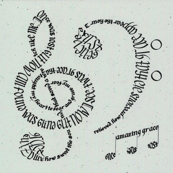 Amazing Grace Calligram Print by mboyd1993 on Etsy, $40.00