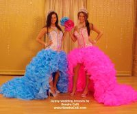 High/low ruffled skirts of crystal organza with blinged ...