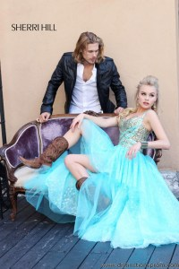Cowboy boots and long blue Prom dress by Sherri Hill ...