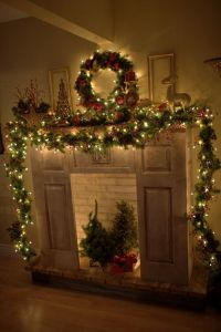 Christmas Mantle: Garland to the floor on both sides ...