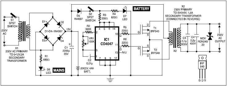 Circuit Diagram For UPS For Cordless Telephones