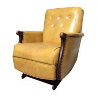 1940s Yellow Vintage Leather Platform Rocker Chair ...