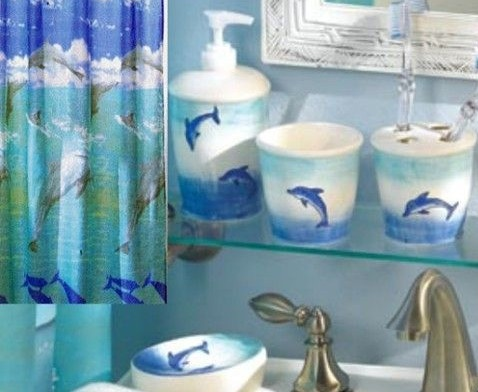 NEW 6 PC Dolphin Bathroom Accessories Set Includes Fabric Shower Curtin  MORE  Things I Love