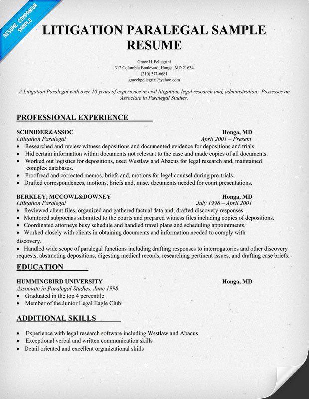 Litigation Paralegal Resume  Career  Pinterest  Resume