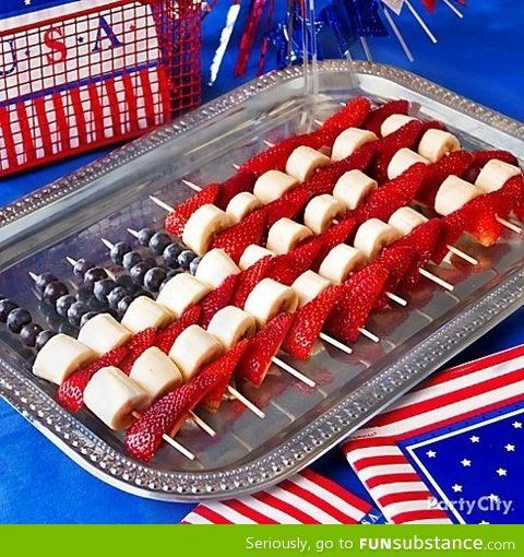 4th of july flag fruit skewers…serve with the fruit dip and you have a festive