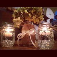 DIY hydrangea, burlap, and twine wedding centerpieces ...