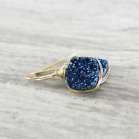 Blue Druzy Earrings, Gold Gemstone Earrings, Drusy Quartz