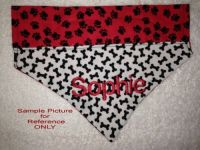 Personalized Dog Bandana Scarf White Black Red Choose Name