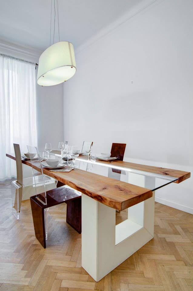 Tavolo in pelle bianca legno grezzo vetro e led  Meta_Nouveau  Pinterest  Interior design