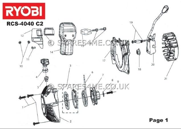 Ryobi RCS4040C2 Spares Parts Chainsaw RCS4040C2 Spares 4