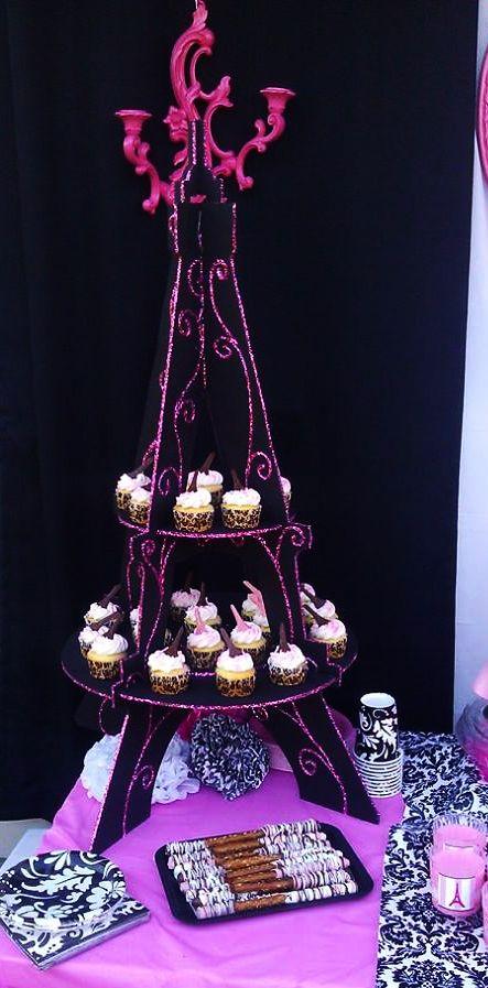 I made The Eiffel Tower Cupcake stand Paris Eiffel Tower Party Theme  Birthday Ideas