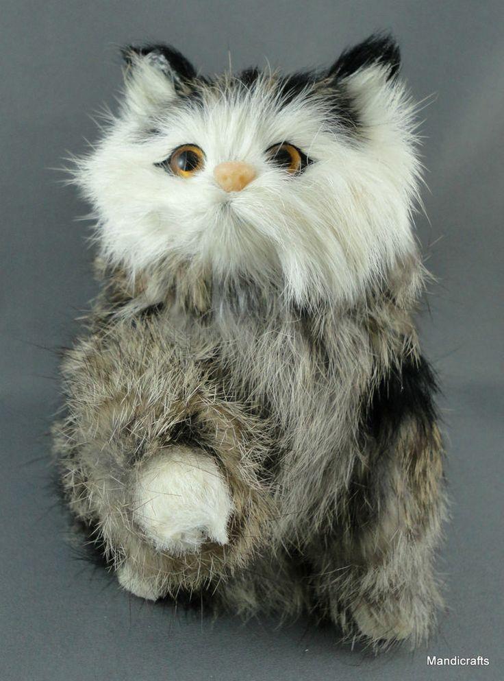 Tabby Cat Kitty 6 Rabbit Fur Plush Figure Realistic Sitting Fluffy no label  eBay Community of