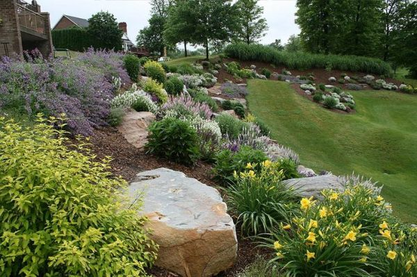 landscaping with big rocks hillside